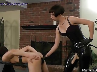 Femdom Mistresses fuck and torment their bound male pigs