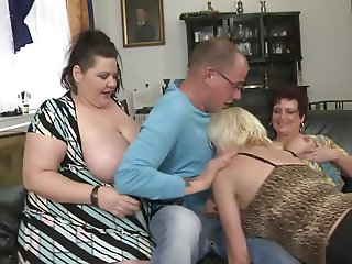 Busty mature MOMs attack lucky boy