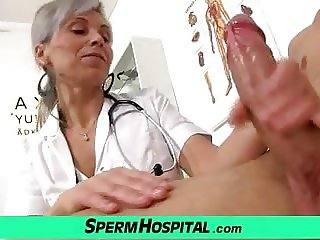 Medical CFNM handjob with Euro wife Beate