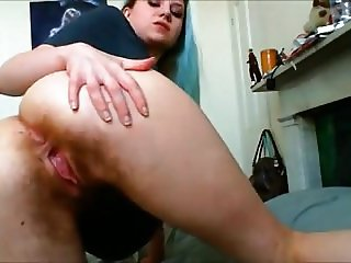 Teen showing hairy ass
