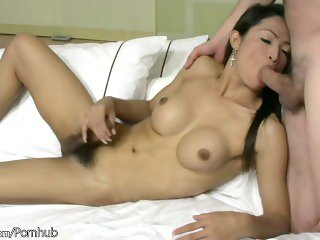Asian TS enjoys mouth fucking and huge cum load on her boobs