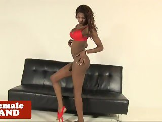 Ebony trans beauty wanks her thick cock solo