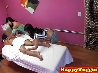 Asian masseuse riding and wanking on spycam