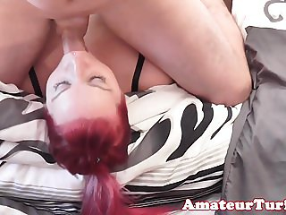 Assfucked chubby redhead gets pussy creamed