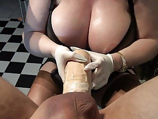 Huge strapon, dildo with extreme outgrowthes, big boobs