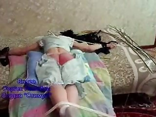 Girls tied to bed & thrashed hard