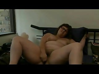 Nympho Chubby BBW with hairy pussy cumming after work