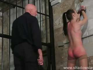 Strict whipping of amateur slave Lolani and spanking punishment of striped
