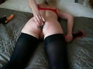 mature wife with her butt plug