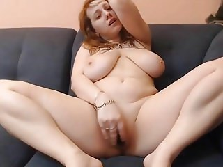 Big sexy girl with huge natural tits masturbating on cam