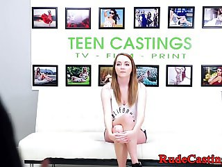 Busty cocksucker teen filmed at casting