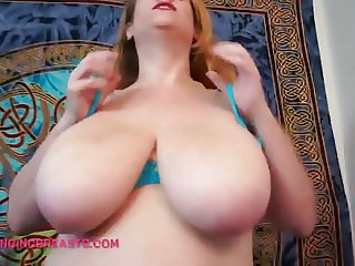 Gold pants stripper with saggy tits