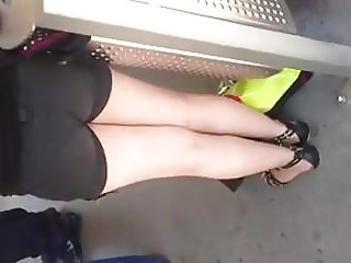 Flasher cums on girl's back