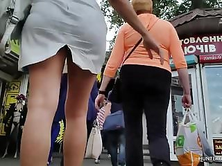 Plump blonde upskirt