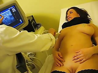 Medical breast exam of busty wife