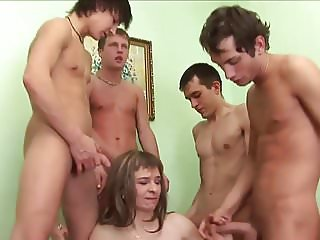 Russian woman and four guys