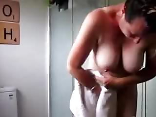 Tall teases after shower 3