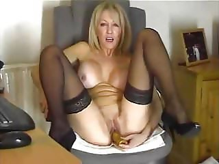 Horny Milf in Stockings and Heels on Webcam