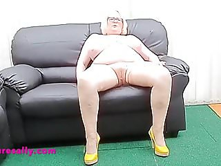 Mature Sally talks you through her belly play