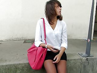 Candid black pantyhose woman waiting at bus station