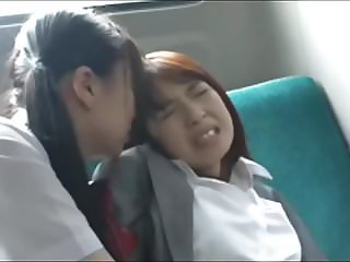 Asian Schoolgirl Has Fun with Teacher on Bus