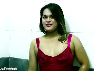 Ladyboy in red lingerie and fishnets jerks off hairy shedick