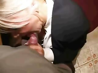 Mature Victoria:  secretary blowjob, fuck, and cum on face
