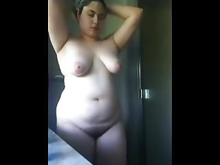 My Chubby Plumper Latina Ex Gf taking a hot shower