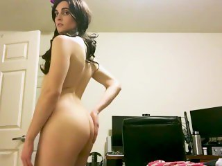 Sexy Brunette Tgirl Showing and Fucking Her Ass