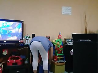 wife bend over with white leggin