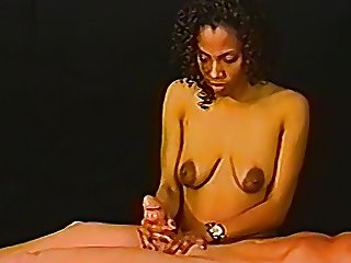 Ebony amateur jerking a white cock