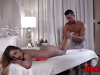 Amazing young Sydney Cole bouncing on cock after massage