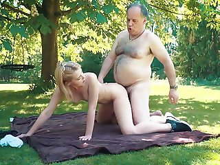 Petite teen fucked hard by grandpa on a picnic she blows him