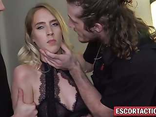 Naughty escort Cadence Lux handcuffed and stuffed with cock