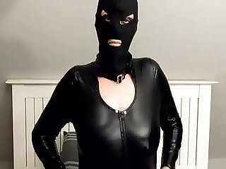 Latex PVC catsuit and mask