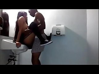 Asian college girl taking BBC in the toilets