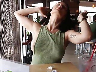 Girl flashing in restaurant