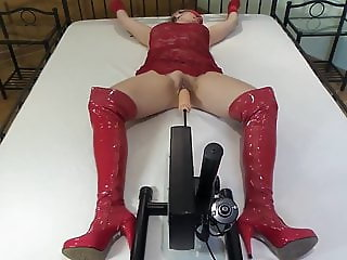 Red PVC Boot slave machine fucked