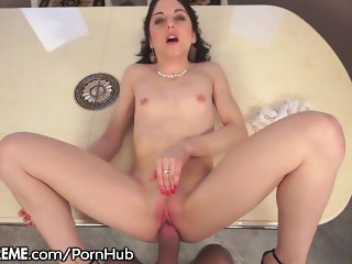 Natural French Babe Fucked on the Table POV
