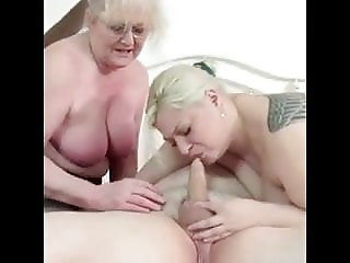 Two old women playing with old grandpa's penis