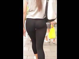 Petite Blond struts her sexy ass in spandex