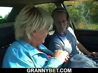 He fucks old granny on the grass