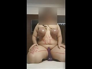 BDSM slave's first time with her new dildo