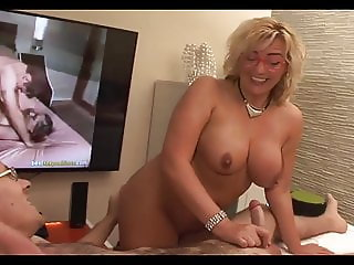 Sexy Mom playing with son's dick