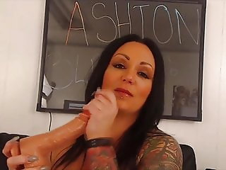 Talkative inked MILF Ashton with fabulous pierced tits