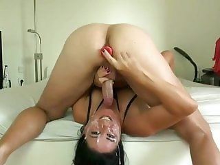 Face fuck and prostate massage