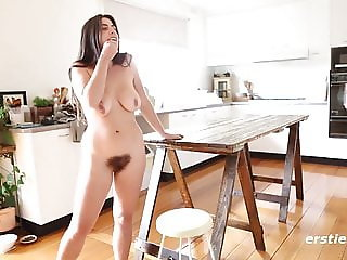Very Hairy Amateur Nora Fucks Dildo in Kitchen