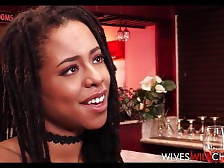Hot Black Wife Kira Noir Cheats On Husband In A Restroom