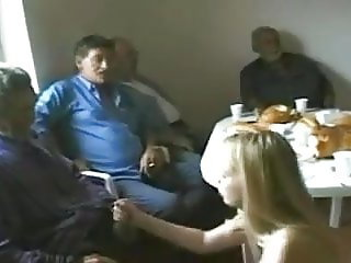 young teen sucks old man whiole his friends watch