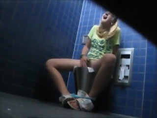 Masturbating in Public Bathroom (Hidden Camera)